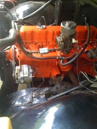 vintage restored engine block red