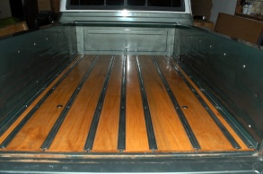 restored vintage GMC truck bed